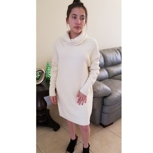 Dresses & Skirts - WHITE LOOSE FUNNEL NECK LONG SLEEVE SWEATER DRESS